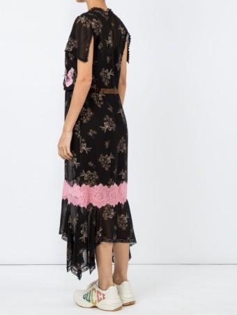 COACH Floral Bouquet Print Midi Black Dress 4