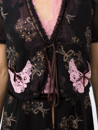 COACH Floral Bouquet Print Midi Black Dress 5