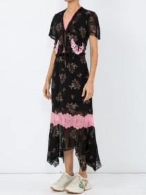 COACH Floral Bouquet Print Midi Black Dress