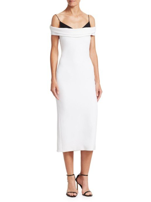 CUSHNIE ET OCHS Off-The-Shoulder Midi White Dress