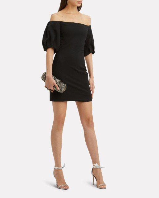 CUSHNIE Silvia Puff-Sleeved Mini Black Dress