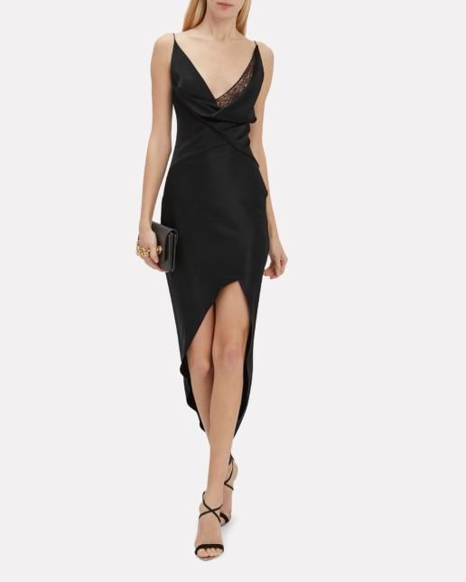 CUSHNIE Wraparound Midi Black Dress
