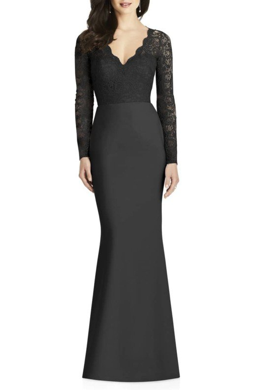 DESSY COLLECTION Lace & Crepe Trumpet Black Gown