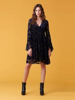 DIANE VON FURSTENBERG Adelita Velvet Black Dress
