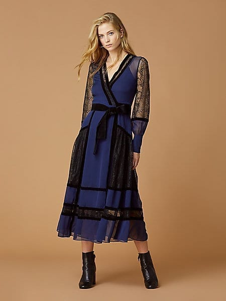DIANE VON FURSTENBERG Forrest Silk Wrap Navy Dress