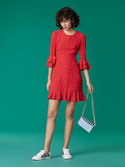 DIANE VON FURSTENBERG Long Sleeve Ruffle Cuff Red Dress