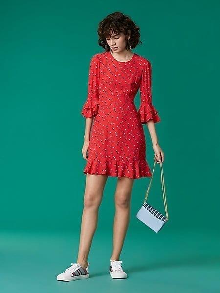 84161920353 Diane Von Furstenberg Long Sleeve Ruffle Cuff Red Dress We Select