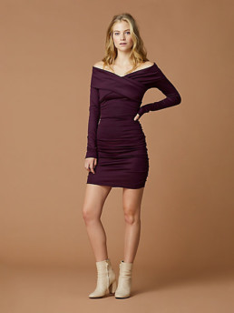 DIANE VON FURSTENBERG Off Shoulder Ruched Mini Cabernet Dress