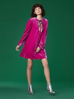 DIANE VON FURSTENBERG Velvet Mini Bright Pink Dress