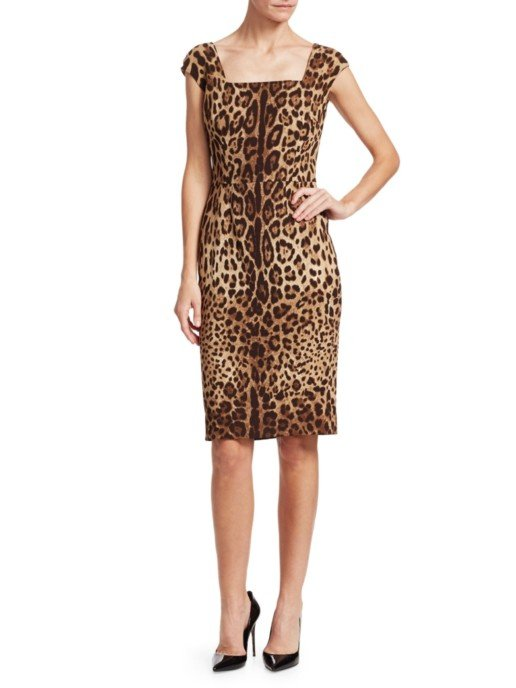 DOLCE & GABBANA Cap Sleeve Leopard Print Sheath Brown Dress