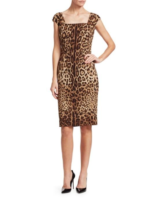 DOLCE & GABBANA Cap Sleeve Leopard Print Sheath Brown Dress