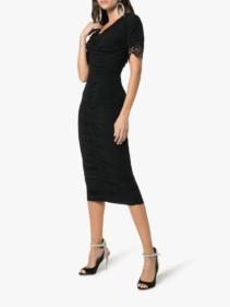 DOLCE-&-GABBANA-Lace-Trimmed-Ruched-Silk-Blend-Georgette-Black-Dress