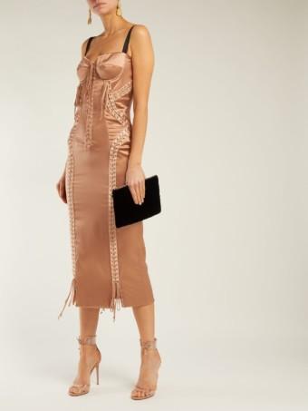 DOLCE & GABBANA Laced Stretch Silk Satin Beige Dress