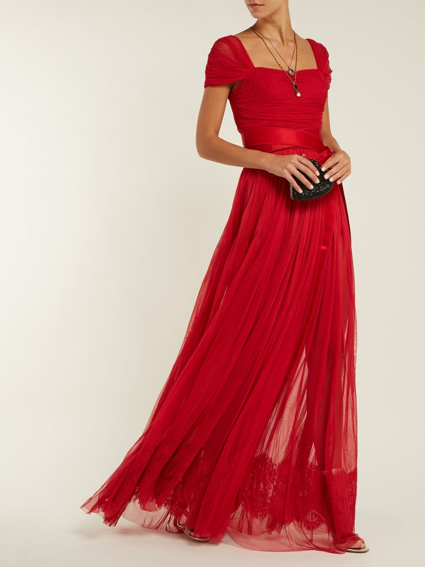 Layered Silk Tulle Crimson Red Gown