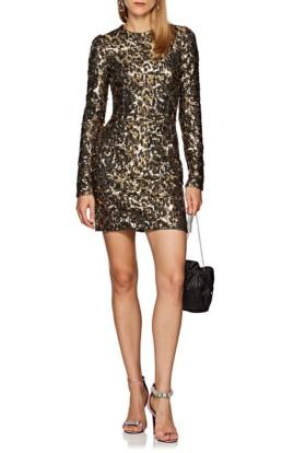 DOLCE & GABBANA Leopard Print Sequin Cocktail Black / Gold Dress