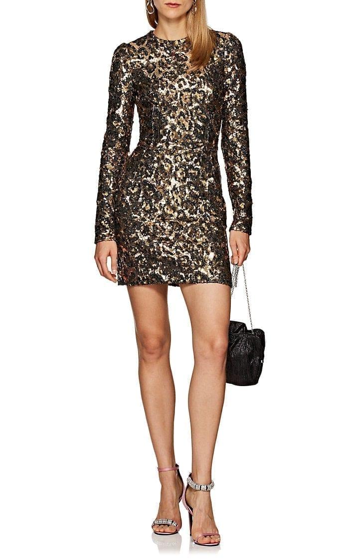 06f20a8ac484 DOLCE & GABBANA Leopard Print Sequin Cocktail Black / Gold Dress ...