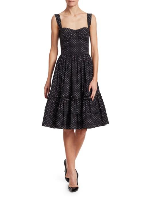 DOLCE & GABBANA Polka Dot Bustier Ruffle Hem Black Dress