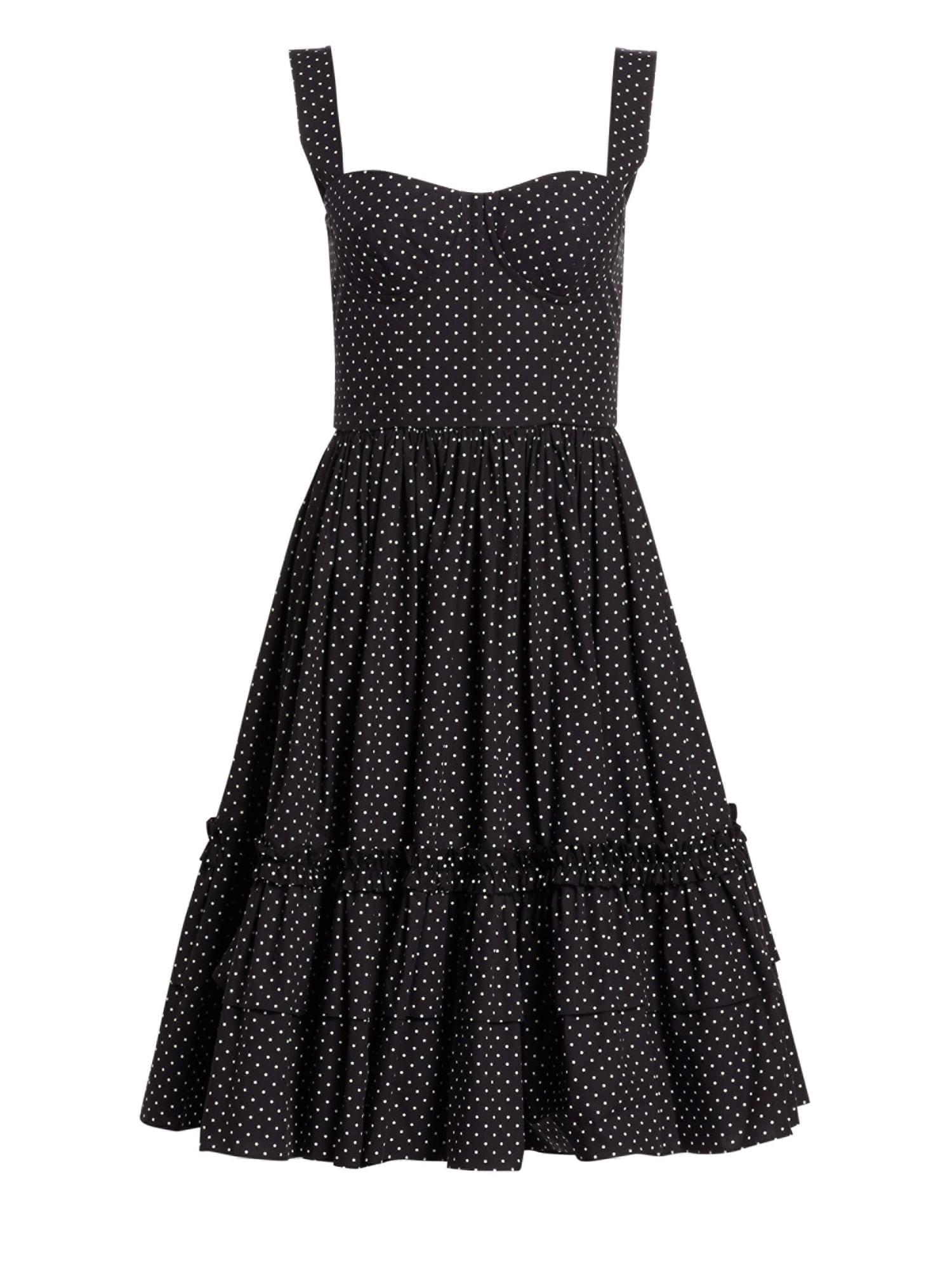 401e8cd4 DOLCE & GABBANA Polka Dot Bustier Ruffle Hem Black Dress - We Select ...