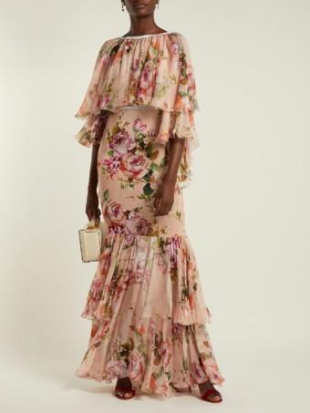 DOLCE & GABBANA Silk Chiffon Pink / Floral Printed Dress