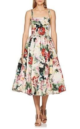 DOLCE & GABBANA Silk Organza Light Pink / Floral Printed Dress