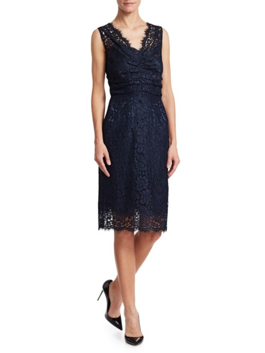 DOLCE & GABBANA V-Neck Lace Cocktail Navy Dress