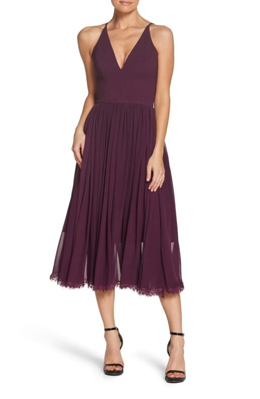 DRESS THE POPULATION Alicia Mixed Media Midi Plum Dress