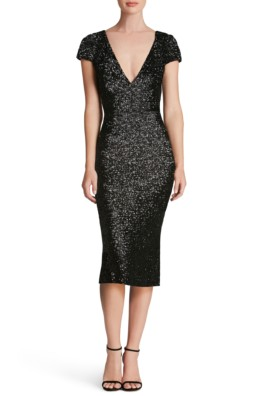 DRESS THE POPULATION Allison Sequin Sheath Black Dress