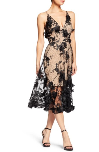 DRESS THE POPULATION Audrey Embroidered Fit & Flare Black Dress 2