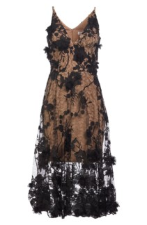 DRESS THE POPULATION Audrey Embroidered Fit & Flare Black Dress 4