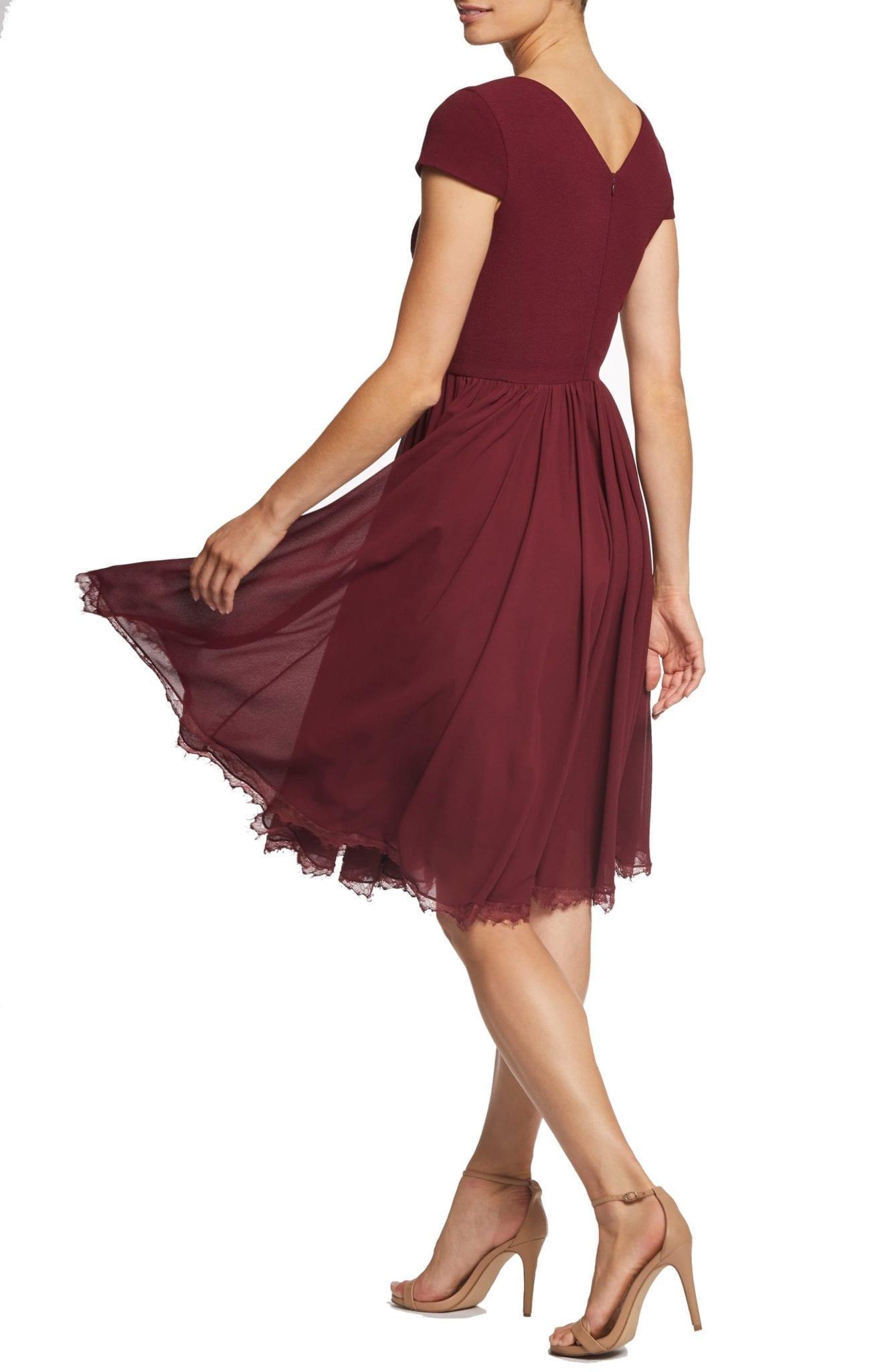 3090c80efe2a DRESS THE POPULATION Corey Chiffon Fit   Flare Burgundy Dress - We ...
