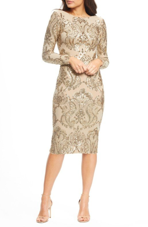 DRESS THE POPULATION Emery Sequin Sheath Nude / Gold Dress