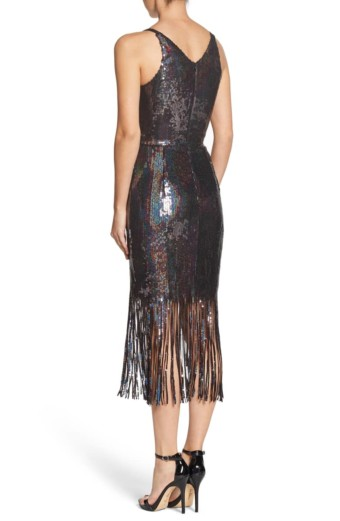 DRESS THE POPULATION Frankie Plunge Midi Multi Dress 3