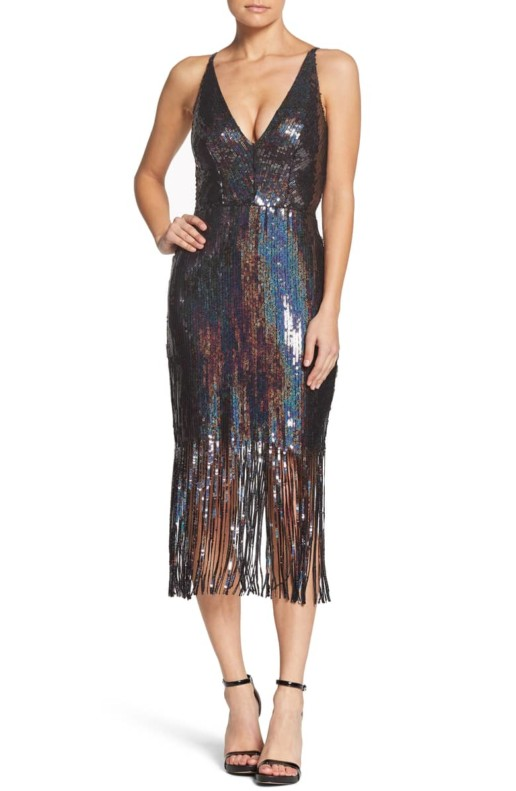 DRESS THE POPULATION Frankie Plunge Midi Multi Dress