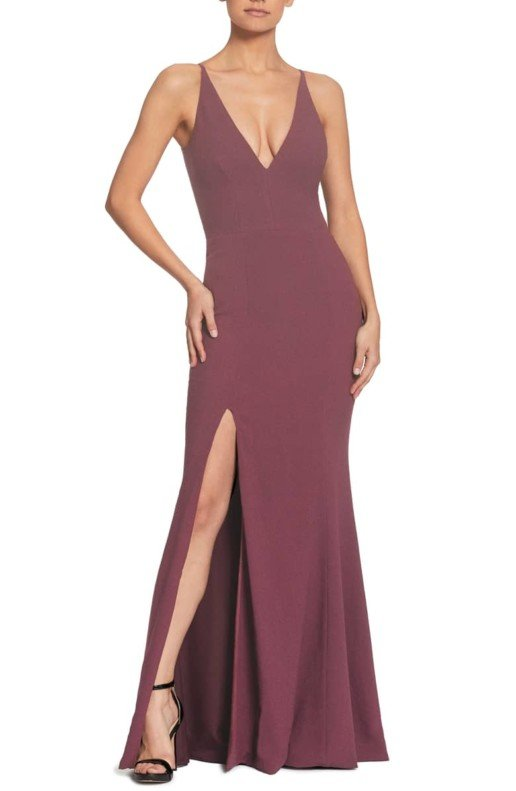 DRESS THE POPULATION Iris Slit Crepe Orchid Gown
