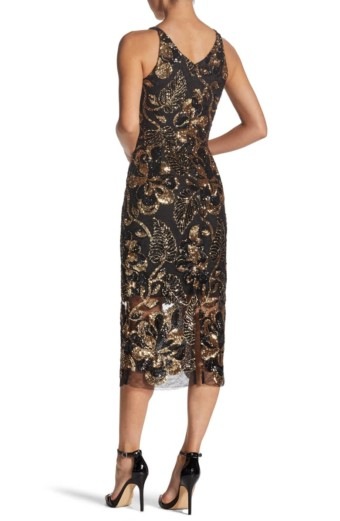 DRESS THE POPULATION Margo Plunge Neck Sequin Midi Black Dress 3