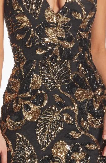 DRESS THE POPULATION Margo Plunge Neck Sequin Midi Black Dress 4