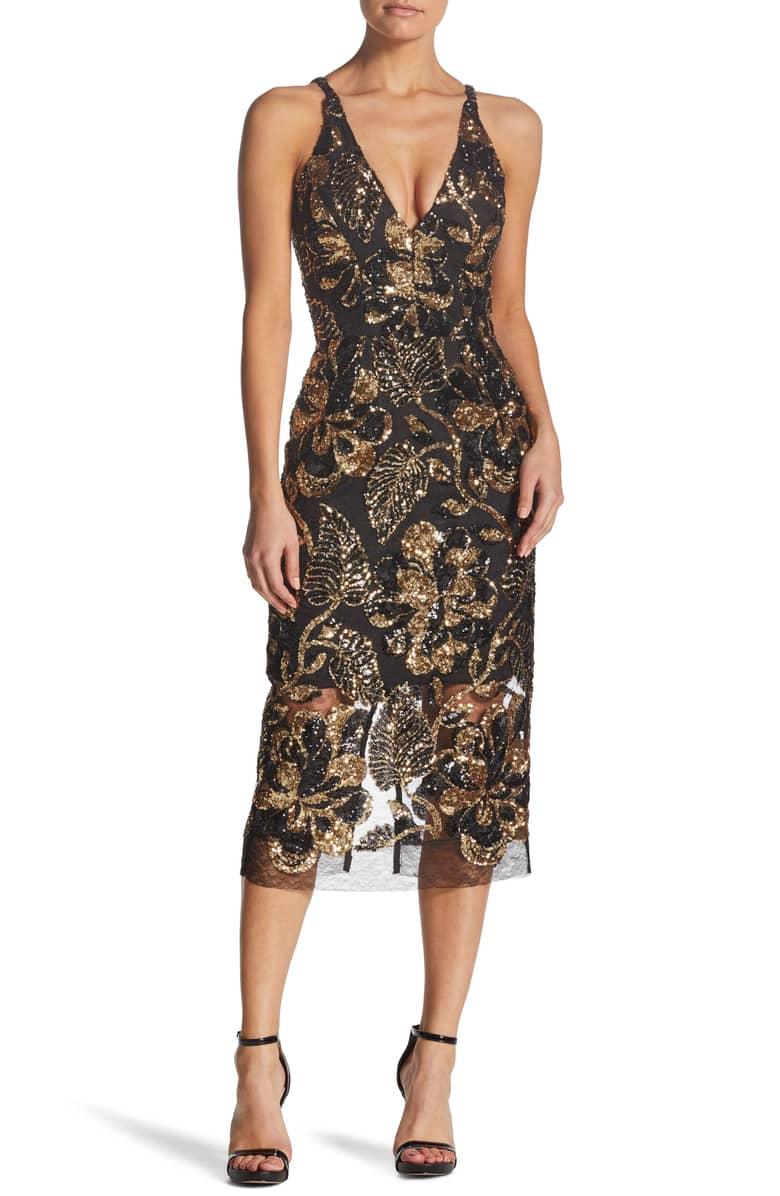 DRESS THE POPULATION Margo Plunge Neck Sequin Midi Black Dress