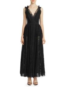 ELIE SAAB Deep-V Lace Black Gown