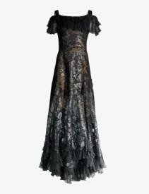 ELIE SAAB Floral Sequin-Embellished Chiffon Black Gown