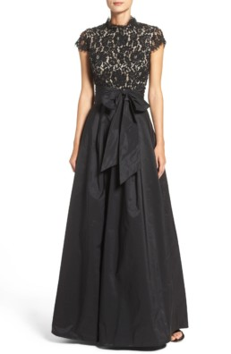 ELIZA J Beaded Bodice Black Ballgown
