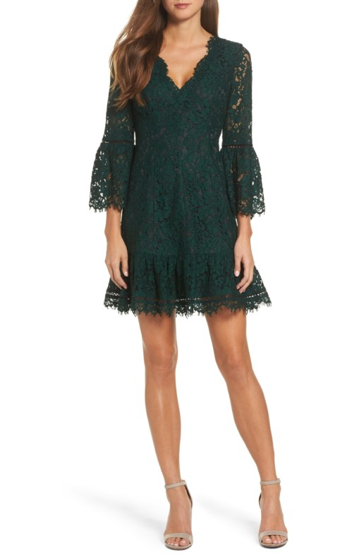 ELIZA J Bell Sleeve Lace Green / Black Dress