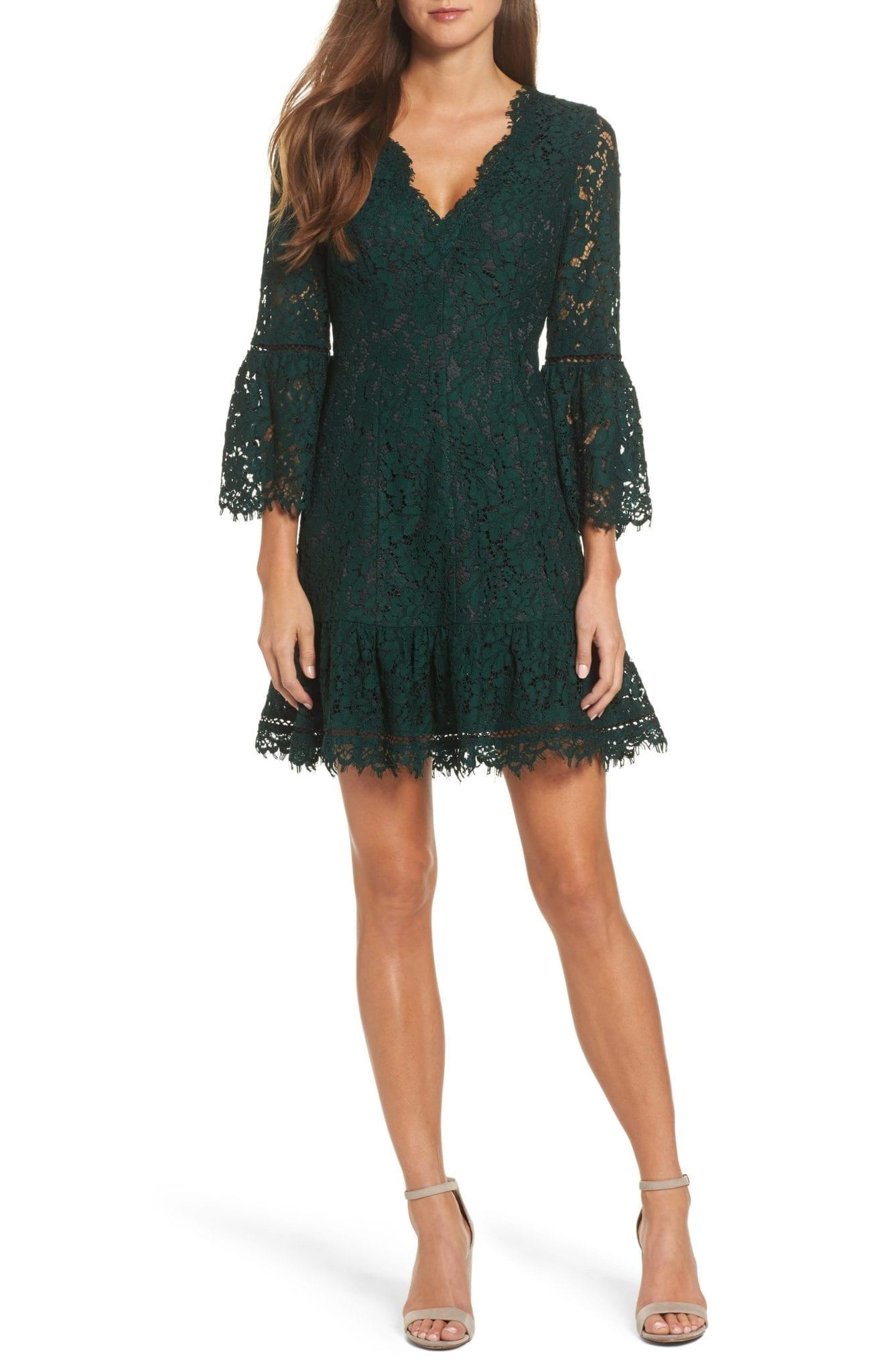 e8eb4f0ce8 ELIZA J Bell Sleeve Scalloped Lace Green   Black Dress - We Select ...