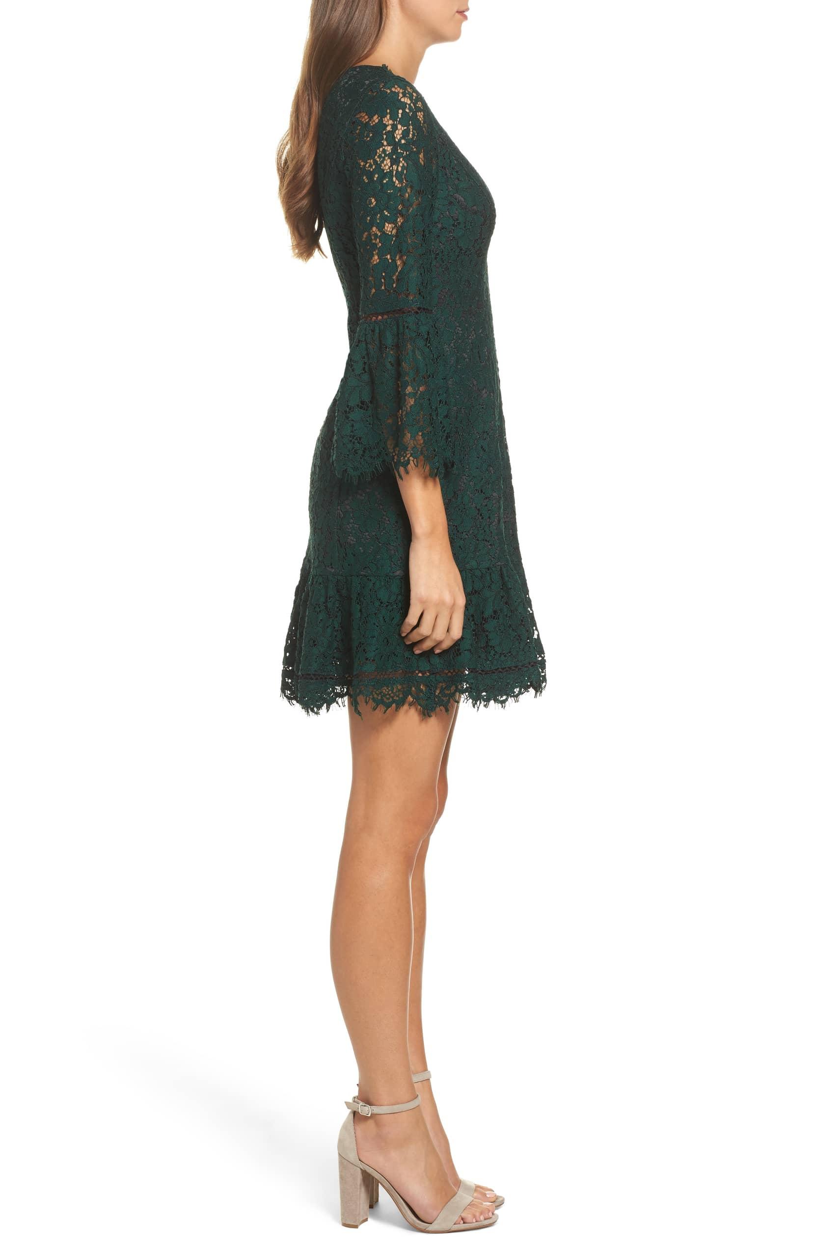 6c99b7381e ELIZA J Bell Sleeve Lace Green Dress - We Select Dresses