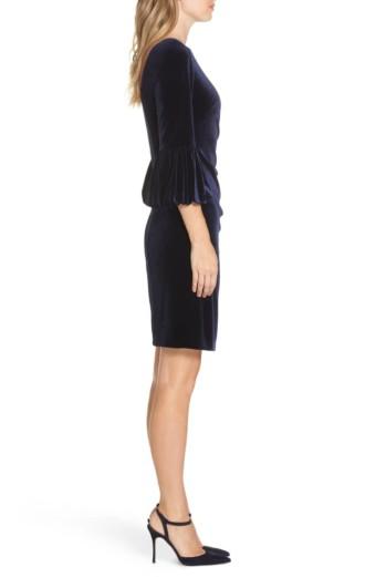ELIZA J Bubble Sleeve Velvet Sheath Navy Dress 2