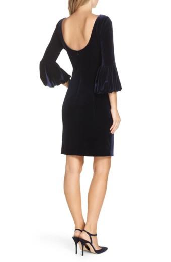 ELIZA J Bubble Sleeve Velvet Sheath Navy Dress 3