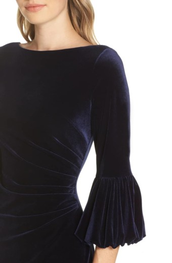 ELIZA J Bubble Sleeve Velvet Sheath Navy Dress 4