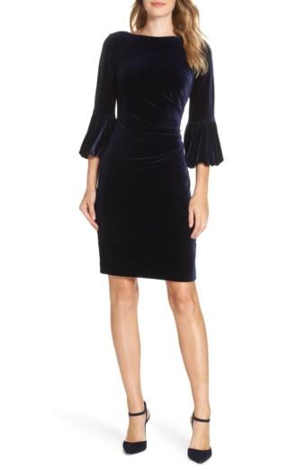 ELIZA J Bubble Sleeve Velvet Sheath Navy Dress