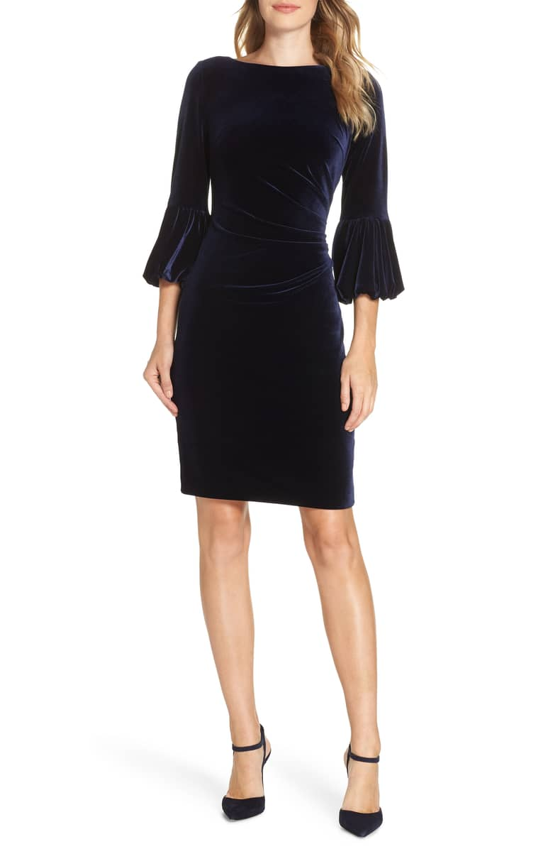 ELIZA J Bubble Sleeve Velvet Sheath Navy Dress