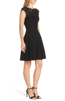 ELIZA J Lace Trim A-Line Sweater Black Dress 2