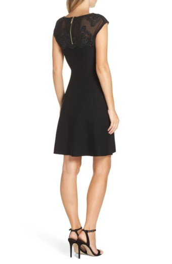ELIZA J Lace Trim A-Line Sweater Black Dress 3